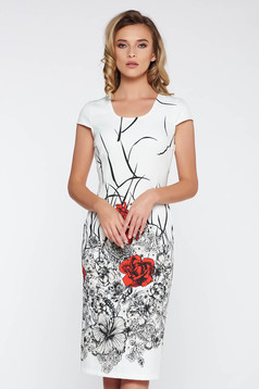 White office midi dress with tented cut slightly elastic fabric with floral prints