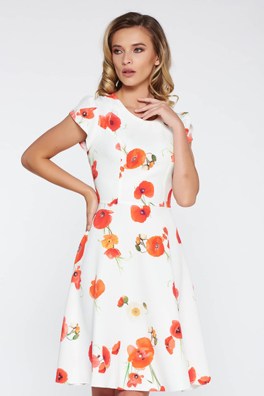White elegant cloche dress short sleeves slightly elastic fabric with floral prints