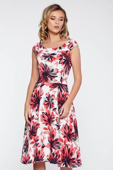 White elegant midi cloche dress nonelastic fabric with floral prints