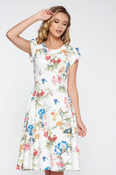 White elegant cloche dress thin fabric slightly elastic fabric with floral prints