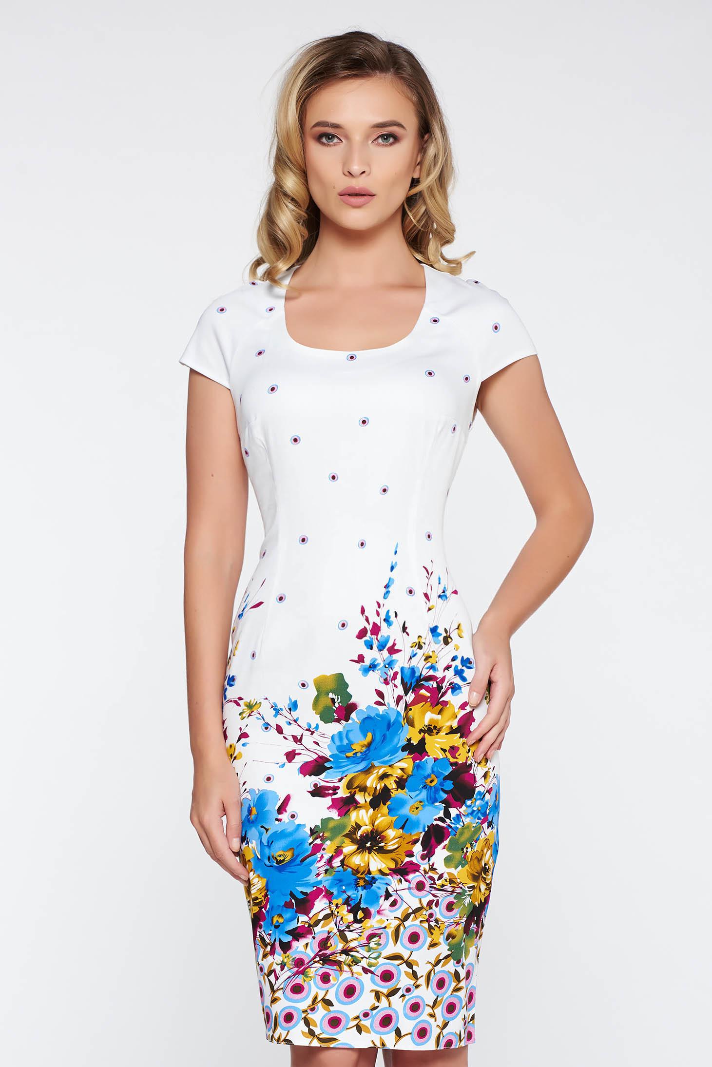 Rochie alba office midi tip creion din bumbac elastic cu imprimeuri florale