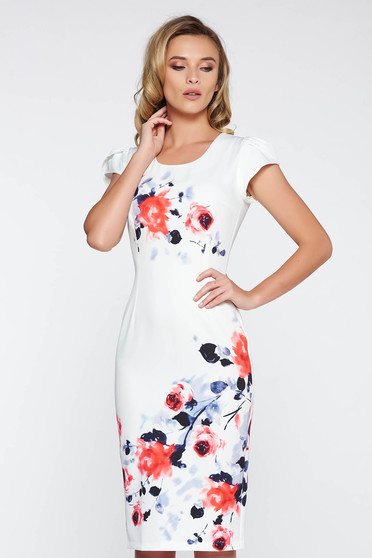 White elegant midi pencil dress slightly elastic fabric from soft fabric with floral prints