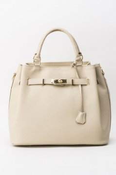 Nude office bag natural leather with metalic accessory