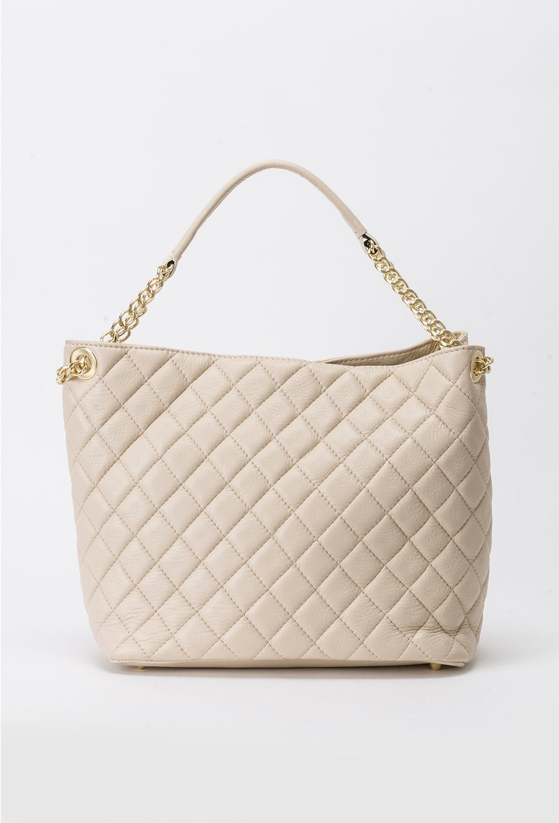 Nude office bag natural leather metallic chain accessory