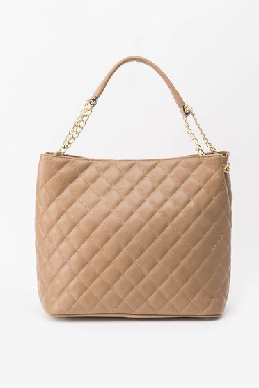 Cream office bag natural leather metallic chain accessory