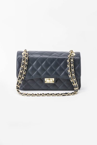 Darkblue bag natural leather long chain handle
