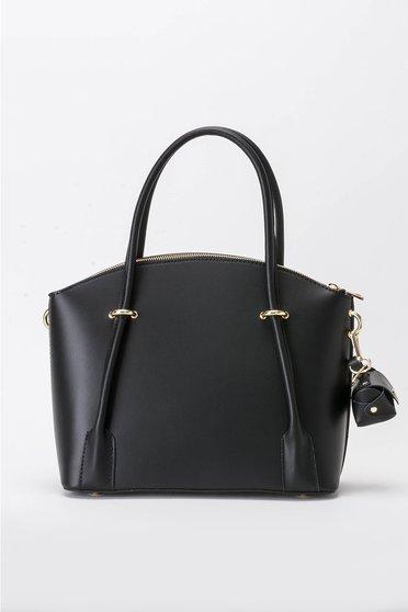 Black office bag natural leather long, adjustable handle