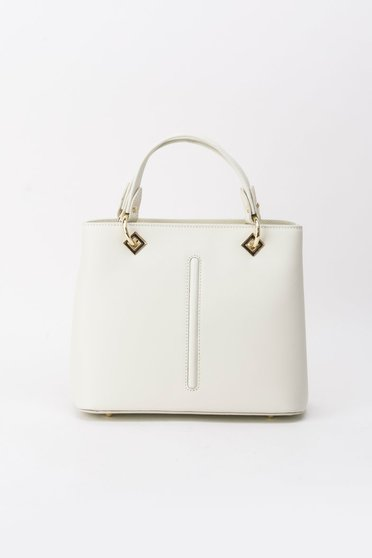 Nude office bag natural leather with metal accessories