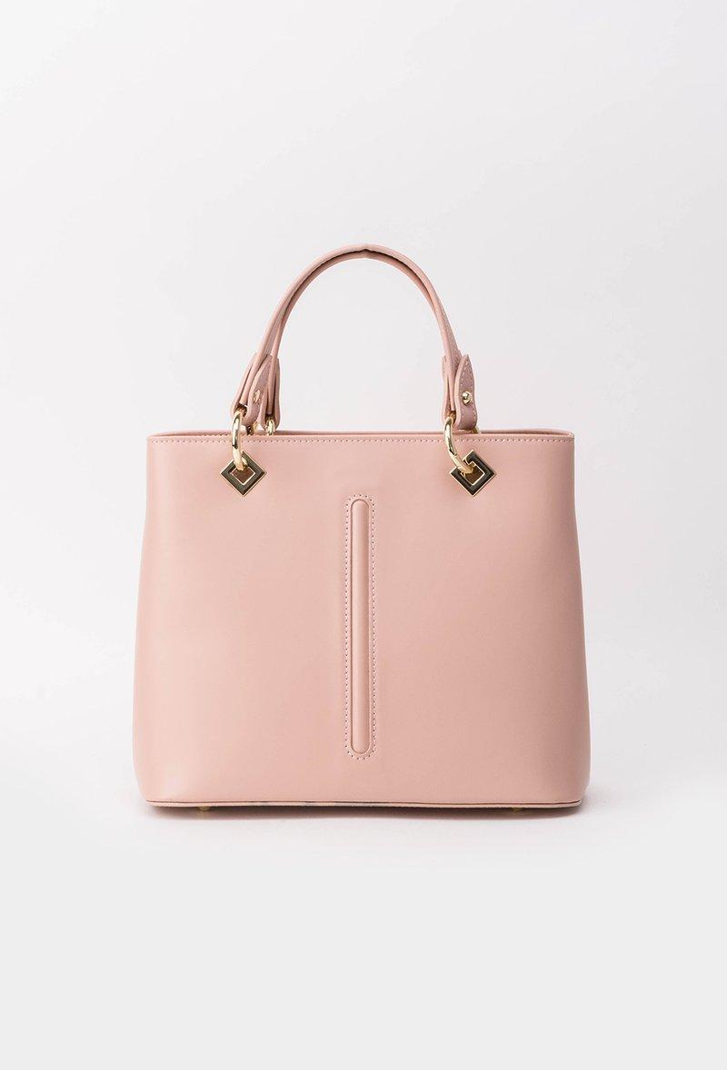 Geanta dama rosa office din piele naturala cu accesorii metalice