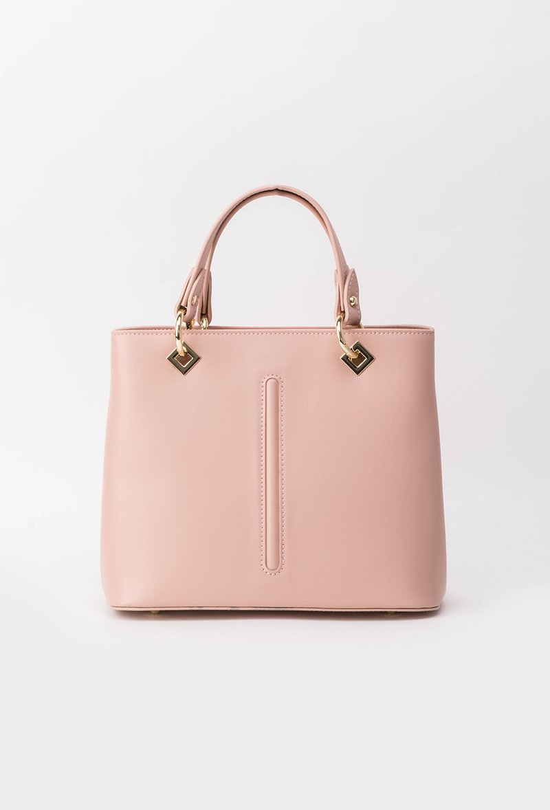 Geanta dama roz deschis office din piele naturala cu accesorii metalice