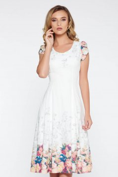White elegant cloche dress soft fabric with inside lining with floral prints