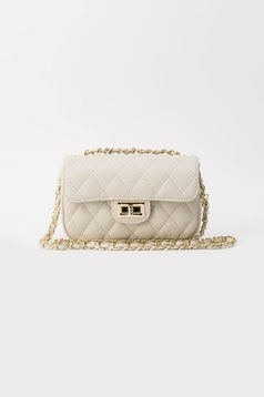 Nude casual bag natural leather long chain handle