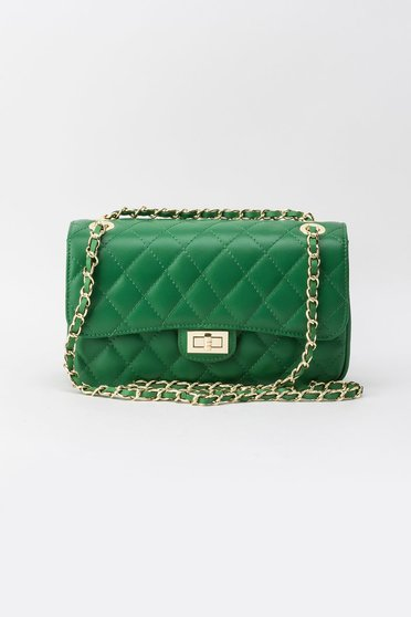 Green bag natural leather long chain handle