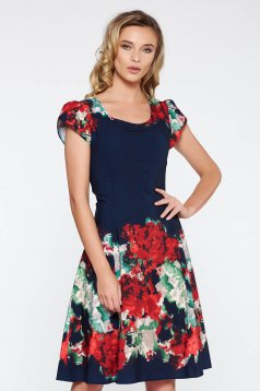 Darkblue elegant midi cloche dress soft fabric with inside lining with floral prints