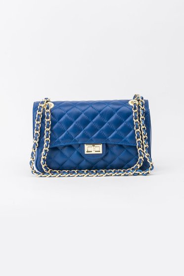 Blue bag natural leather long chain handle
