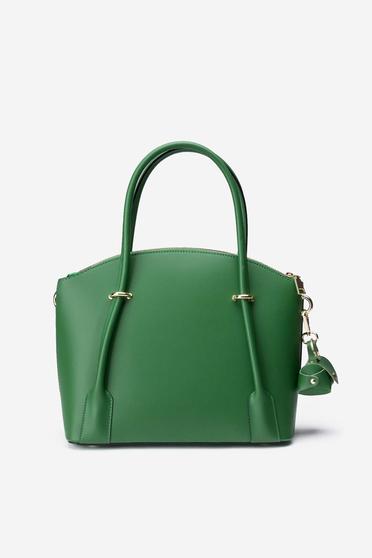 Green office bag natural leather long, adjustable handle