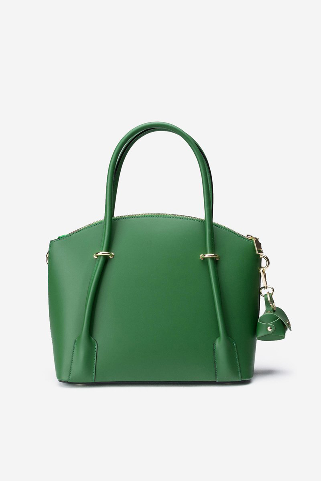 Green office bag natural leather long, adjustable handle