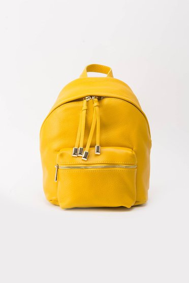 Yellow backpacks casual natural leather with metal accessories