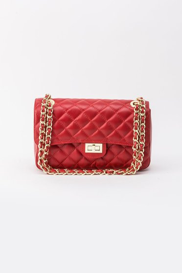 Red bag natural leather long chain handle
