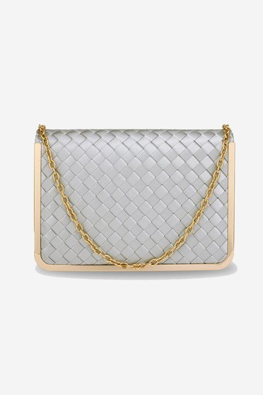 Silver bag clubbing from ecological leather long chain handle