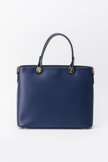 Darkblue bag office natural leather