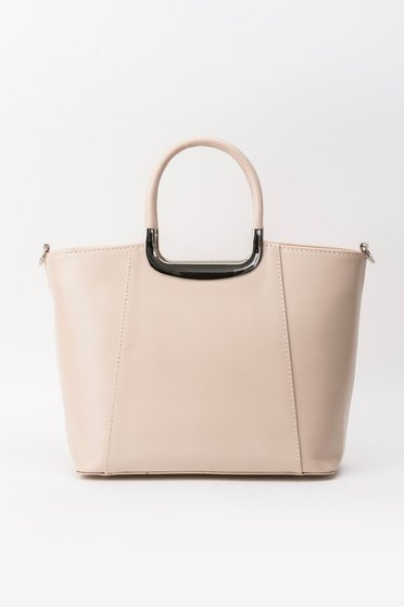 Cream office bag natural leather short handles