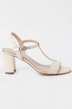 Nude sandals elegant natural leather chunky heel with thin straps with high heels
