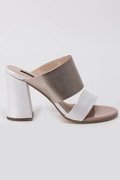 White sandals elegant natural leather chunky heel
