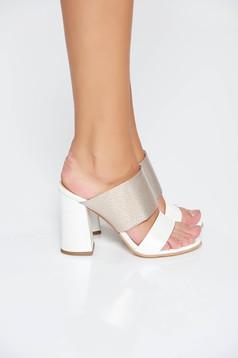 White elegant sandals natural leather chunky heel