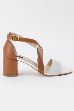 Brown sandals office natural leather chunky heel