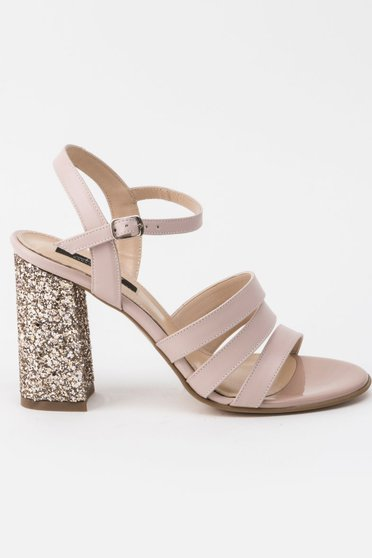 Rosa sandals occasional natural leather chunky heel with bright details