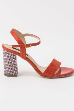 Red sandals office natural leather chunky heel with thin straps