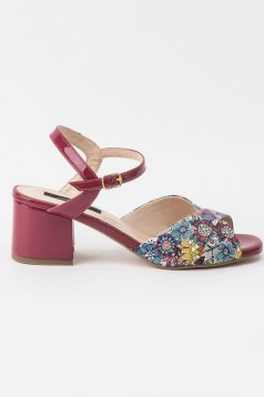 Purple sandals elegant natural leather chunky heel with thin straps