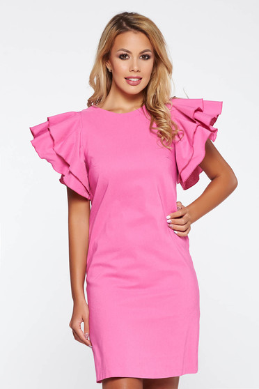 PrettyGirl pink daily a-line dress slightly elastic fabric with inside lining with ruffled sleeves