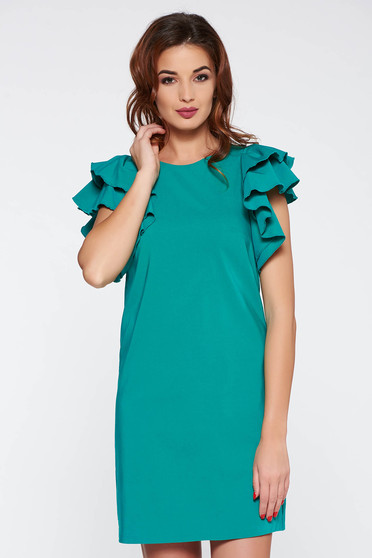 PrettyGirl green daily a-line dress slightly elastic fabric with inside lining with ruffled sleeves