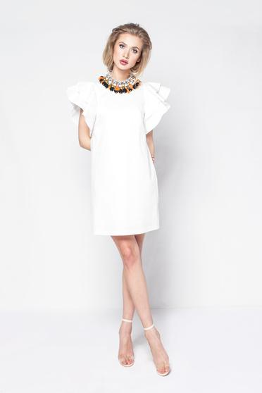 PrettyGirl white daily a-line dress slightly elastic fabric with inside lining with ruffled sleeves