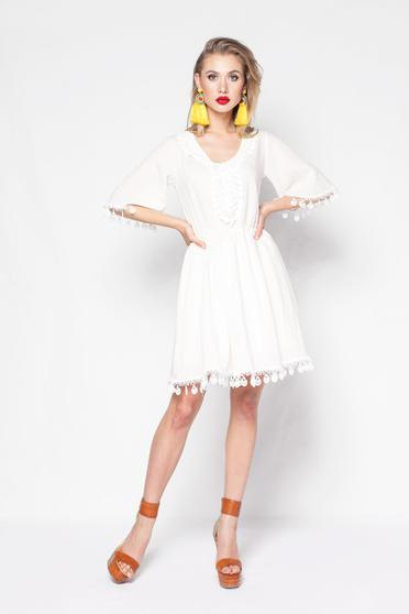 PrettyGirl nude casual cloche linen dress with elastic waist with lace details with inside lining