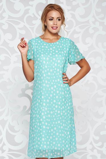 Mint elegant flared dress transparent chiffon fabric with inside lining dots print