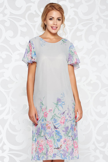 Grey elegant flared dress transparent chiffon fabric with inside lining with floral print