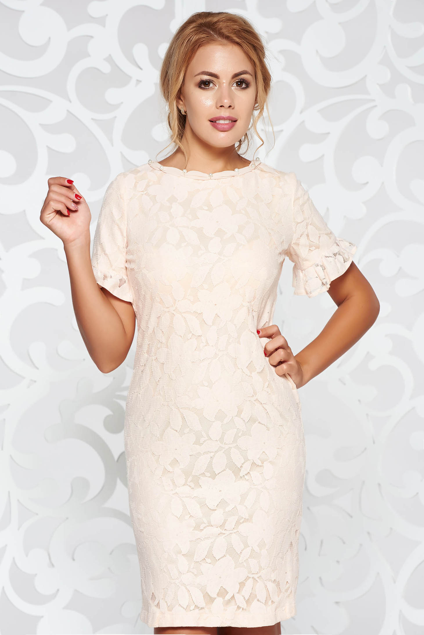 LaDonna cream occasional dress with straight cut from laced fabric with pearls