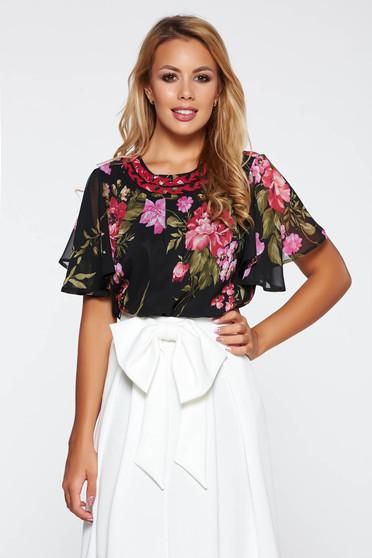 LaDonna black elegant with easy cut women`s blouse transparent chiffon fabric