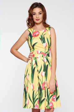 LaDonna yellow elegant flaring cut dress flexible glazed cotton