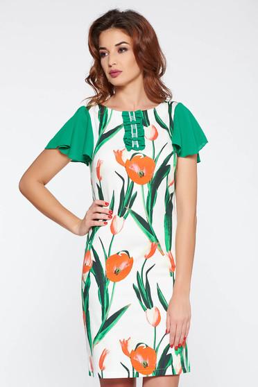 LaDonna green elegant a-line dress elastic cotton with floral prints