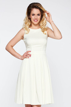 LaDonna white elegant flaring cut dress flexible glazed cotton
