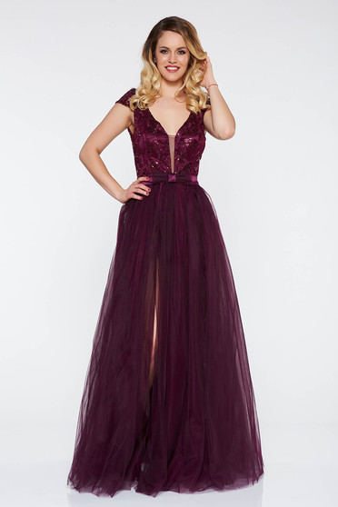 Artista purple occasional from tulle dress with inside lining with push-up cups with floral details with 3d effect