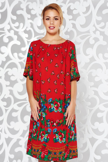 Red elegant flared dress with floral prints thin fabric