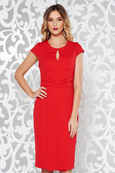 Red elegant dress with tented cut slightly elastic fabric pleats of material