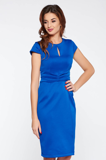 Blue elegant dress with tented cut slightly elastic fabric pleats of material
