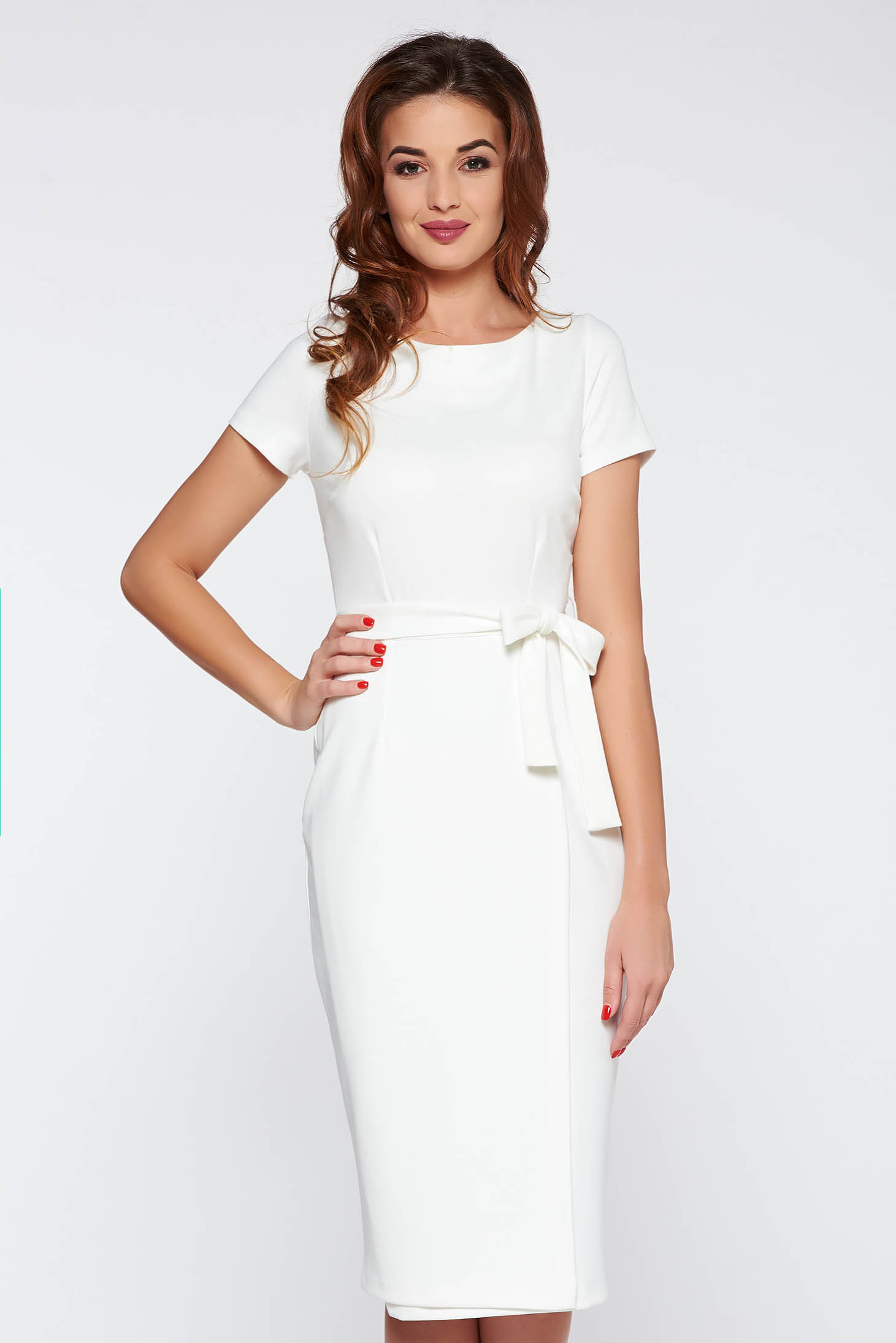 Starshiners White Office Dress With Tented Cut Accessorized Tied Waistband