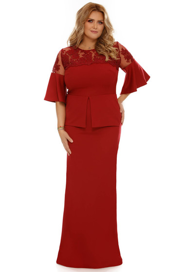 Burgundy occasional dress with tented cut slightly elastic fabric with ruffled sleeves